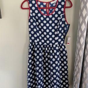 Charming Charlie blue and white polka dot dress